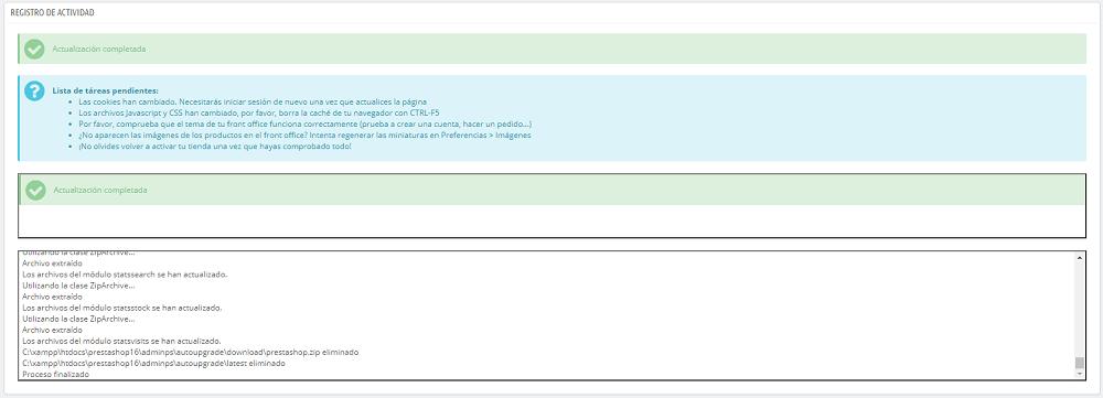Actualización a Prestashop 1.7 finalizada