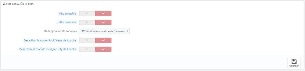 Configuración URLs SEO