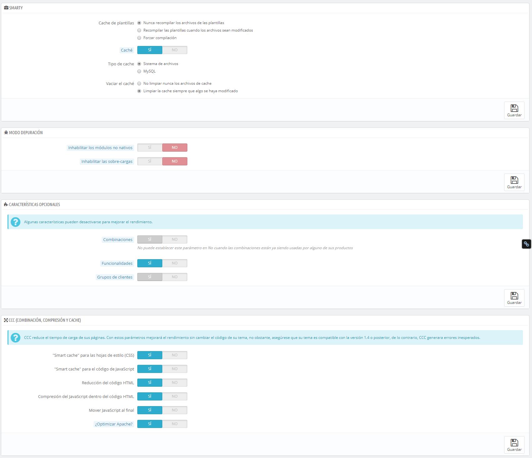 Parámetros rendimiento Prestashop 1.6