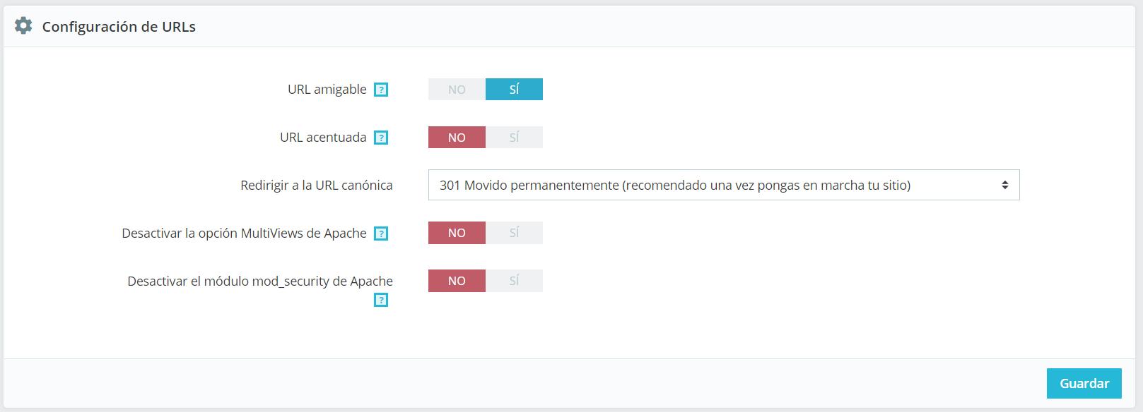 Configuración de URLs en Prestashop 1.7