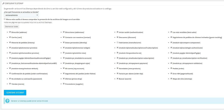 Configurar el Sitemap en Prestashop 1.7