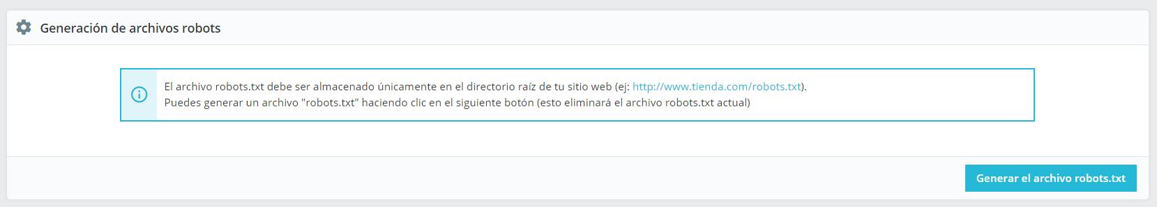 Generar archivo robots.txt desde Prestashop 1.7