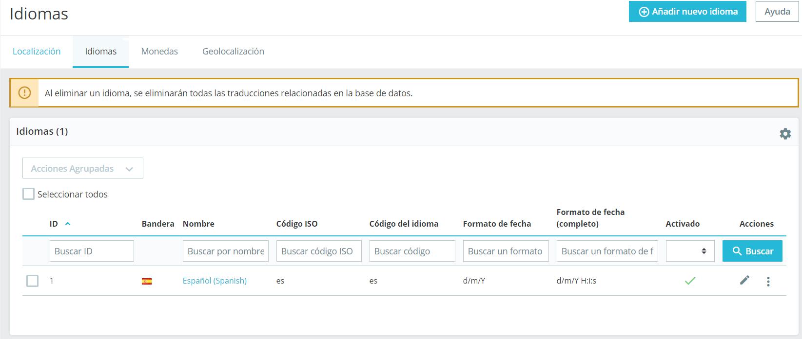 Configurar idiomas en Prestashop 1.7