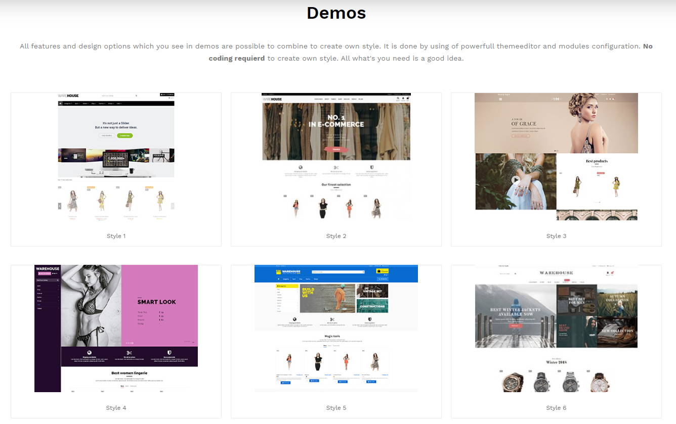 Demos disponibles con la plantilla Warehouse de Prestashop