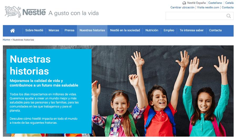 Página web Corporativa Nestlé