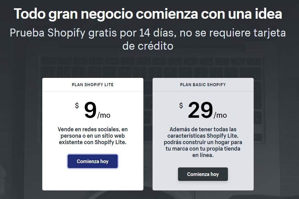 Planes y precios de Shopify Lite