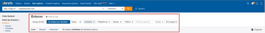Filtros búsqueda perfil de enlaces