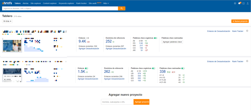 Dashboard - Tablero Ahrefs