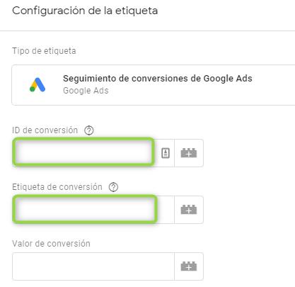 Configuración etiqueta para seguimiento de conversiones