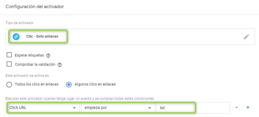 Configuración de llamadas por clics