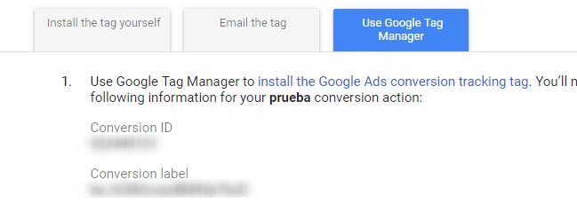 Datos de seguimiento de conversiones en Google Ads
