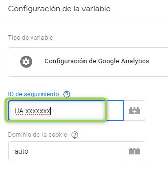 Configuración de la variable o ID de seguimiento de GAD