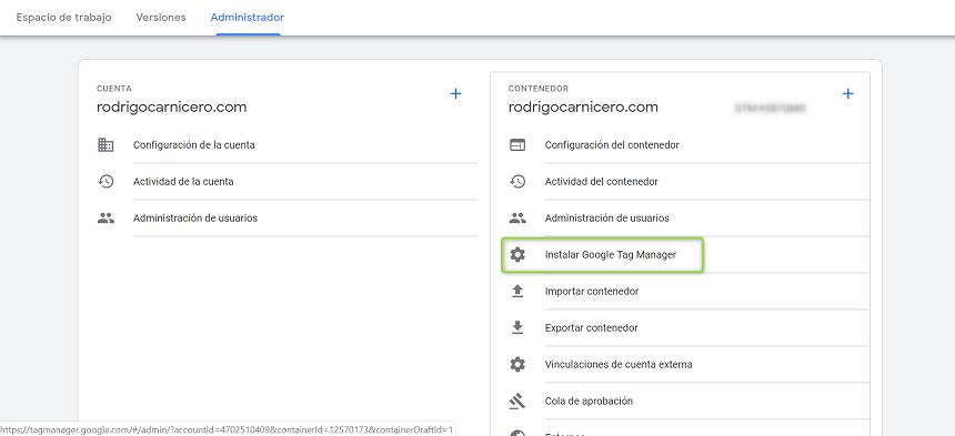 Instalación de Google Tag Manager