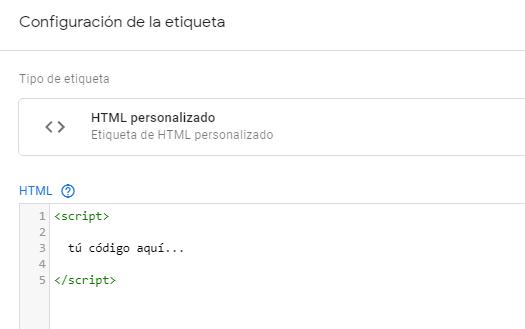 Instalar otros píxeles con HTML