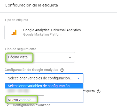 Configuración de la variable con nuestro UA de Google Analytics