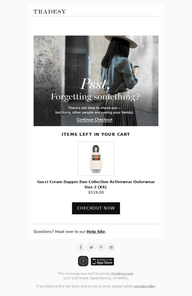 ejemplo email tras abandonar carrito de compra