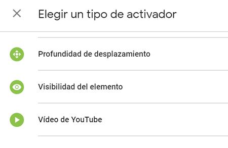 Activadores para medir eventos de Youtube