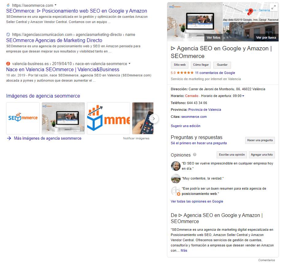 Ejemplo de Ficha en Google My Business