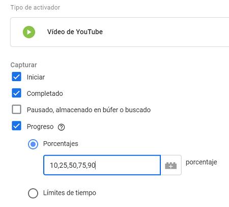 Tipo de activador para vídeos de Youtube