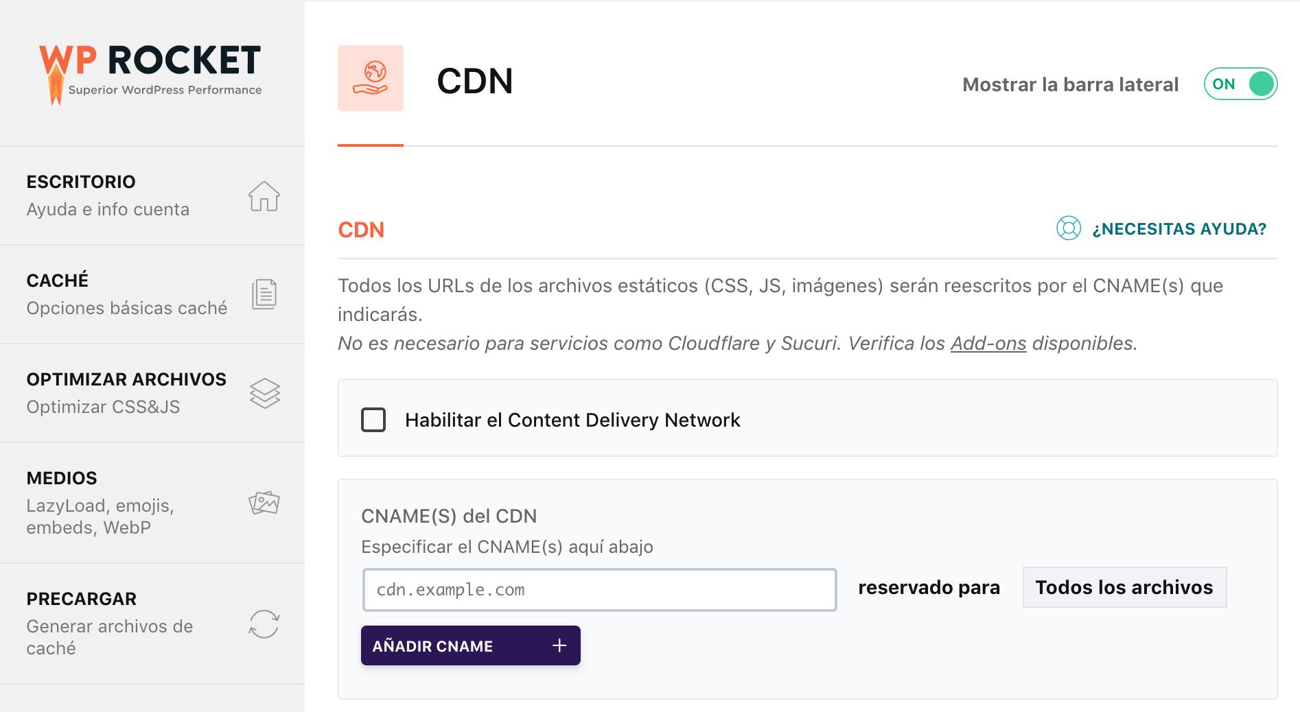 Configuración CDN en WP Rocket